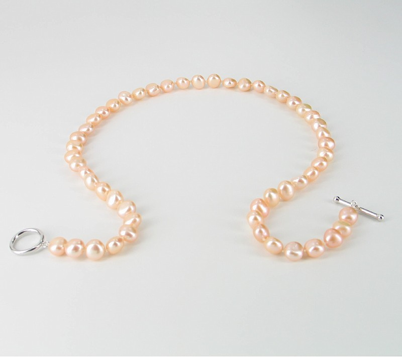 Pink Baroque Pearl Necklace 8-9mm With Sterling Silver