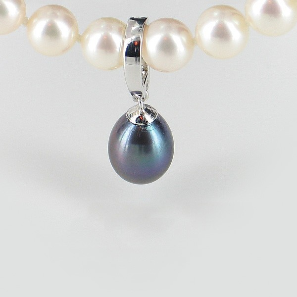 Black Drop Pearl Enhancer 8.5-9mm With Sterling Silver
