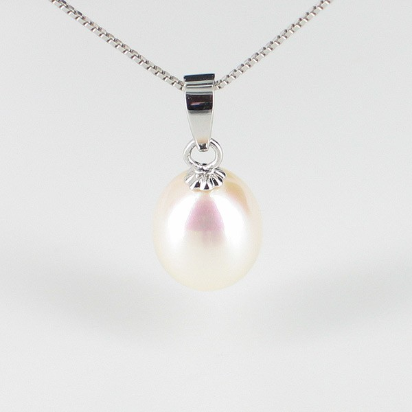 White Large Drop Pearl Pendant Necklace AAA 9-9.5mm On Sterling Silver