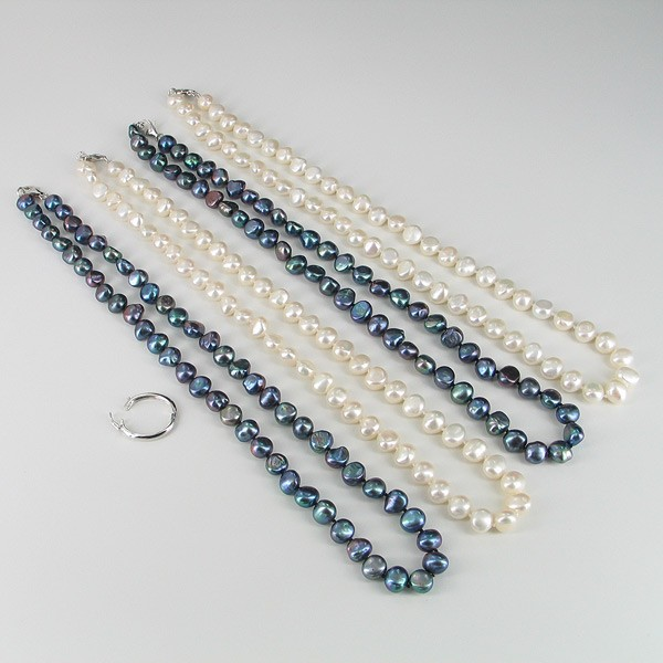Black & White Long Baroque Pearl Necklace 8-9mm With Sterling Silver
