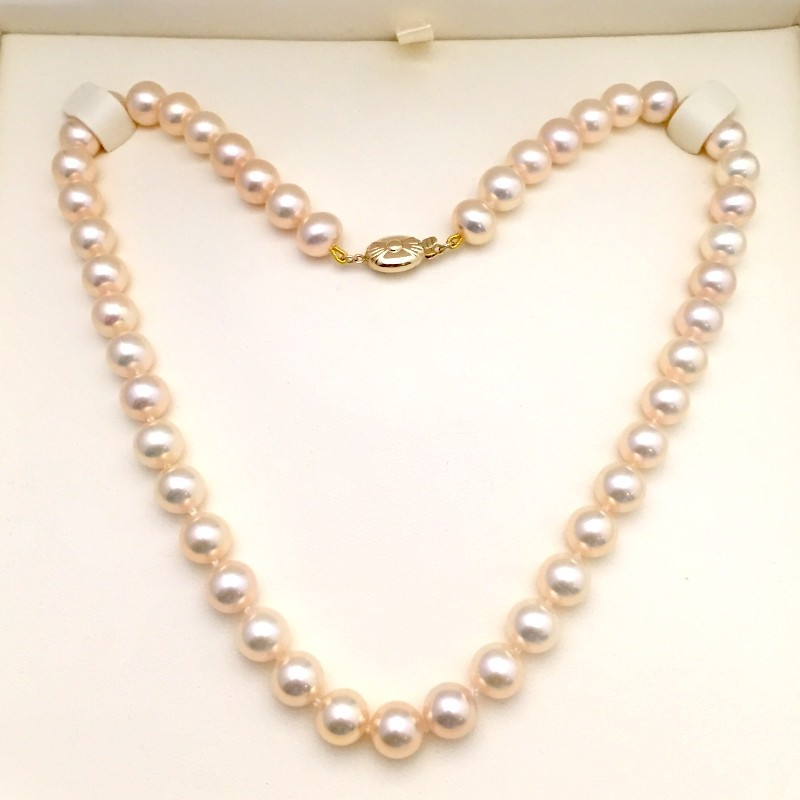 Large Light Salmon Pink Pearl Necklace 8.5-9mm With 9K Yellow Gold