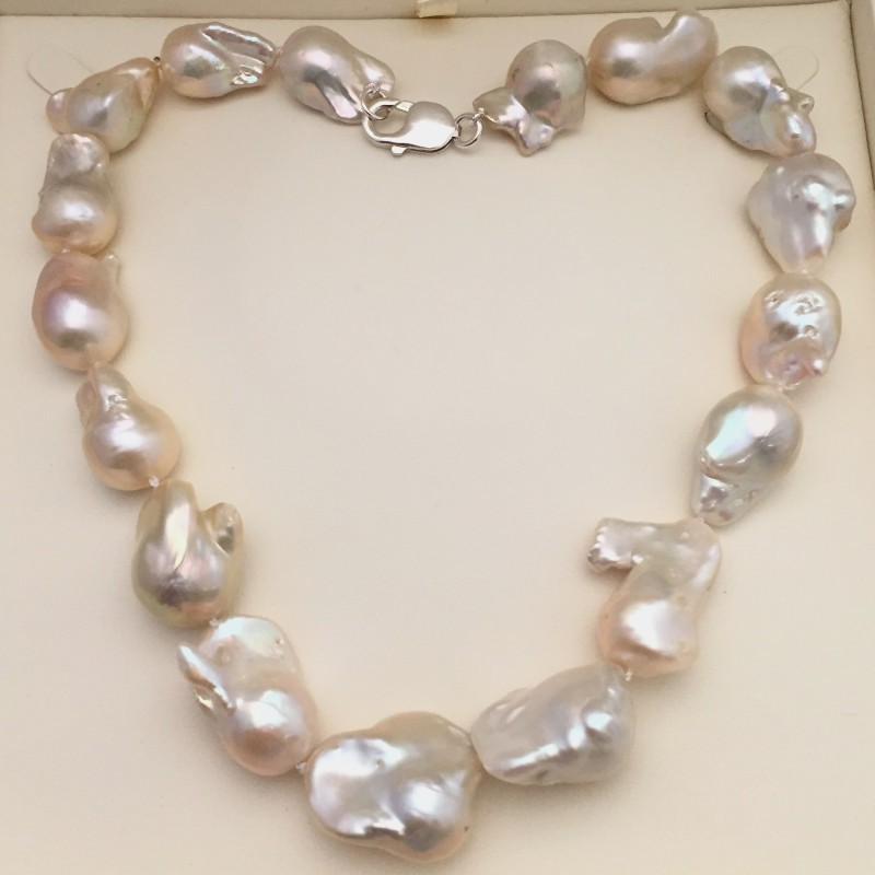 Giant White Baroque Pearl Necklace 22-26mm With Sterling Silver