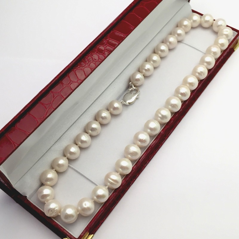 Large White Baroque Ringed Style 11-12mm Pearl Necklace With Sterling Silver