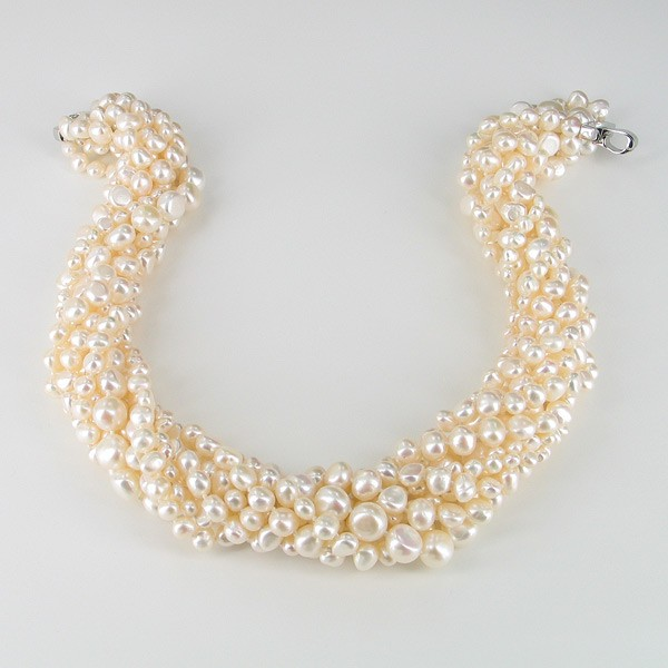 Nine Strand Statement 5-10mm Baroque Pearl Necklace With Sterling Silver