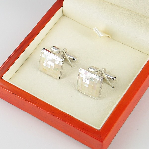 Freshwater Mother of Pearl Cufflinks On Sterling Silver