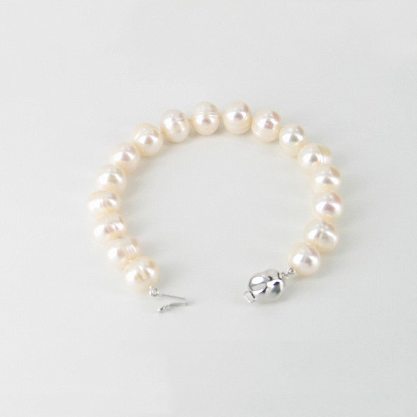 Large Ringed Baroque Pearl Bracelet 9.5-10.5mm With Sterling Silver