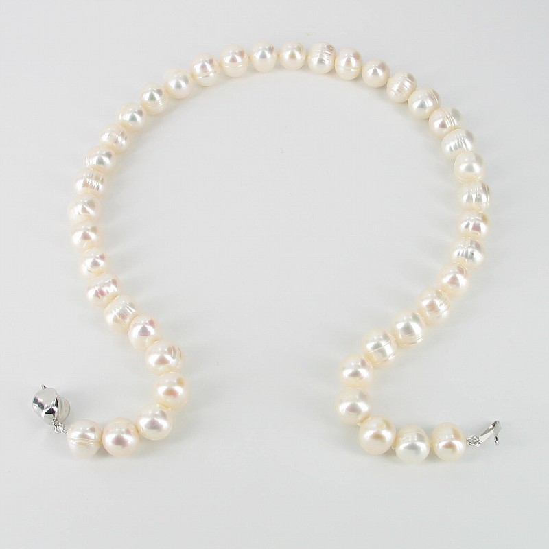 Large Ringed Baroque Pearl Necklace 9.5-10.5mm With Sterling Silver