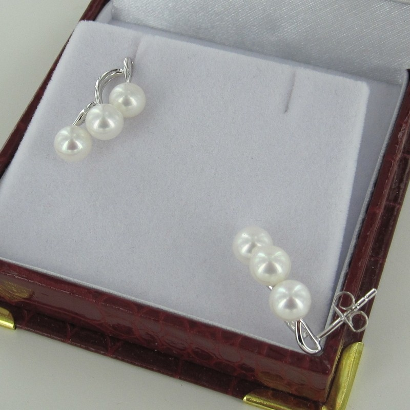 White Triple Pearl Stud Earrings 5.5-6mm On Sterling Silver