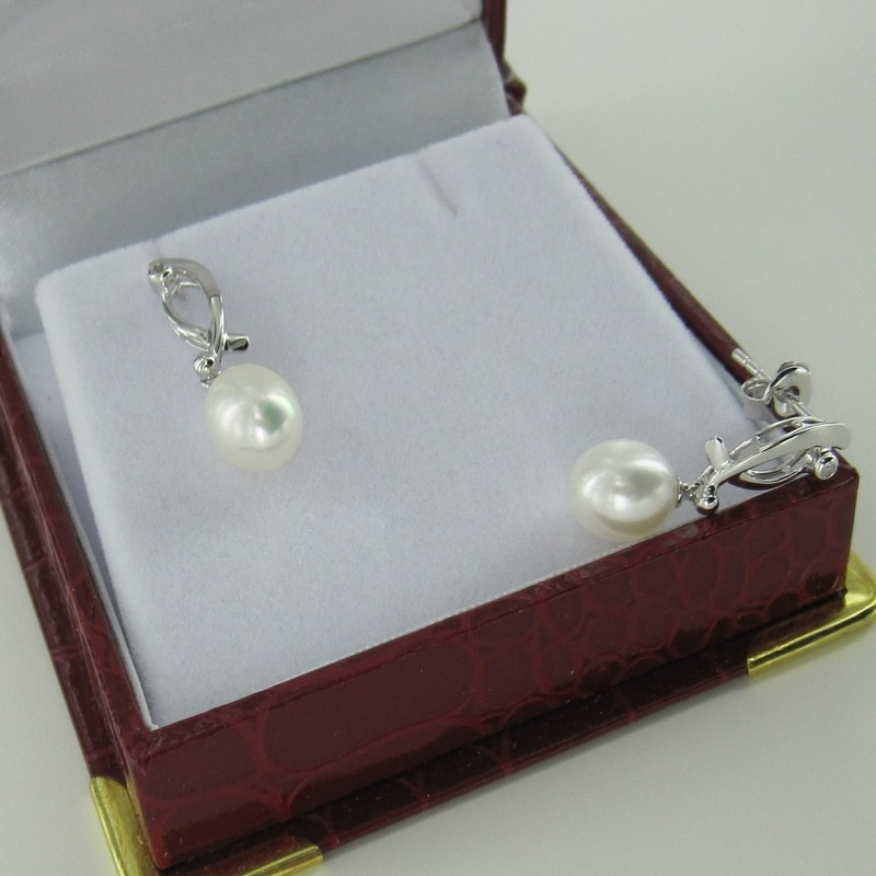 Drop Pearl & Topaz Earrings 7-7.5mm On Sterling Silver