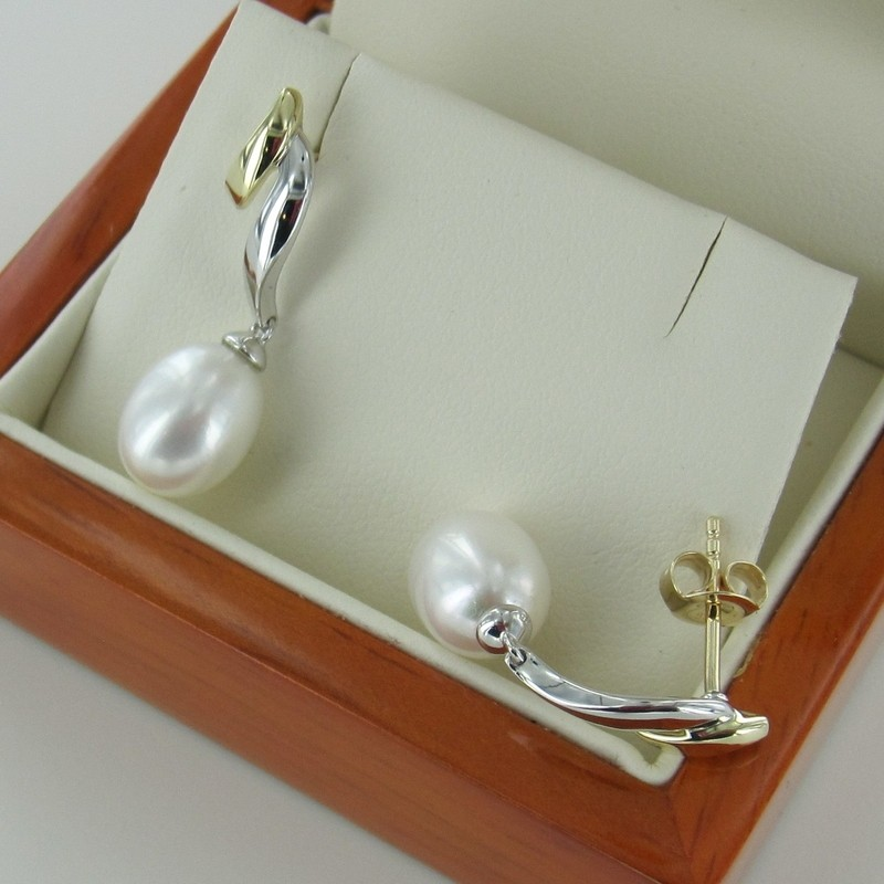 Pearl Drop Earrings 8-8.5mm On 9K White & Yellow Gold Silver