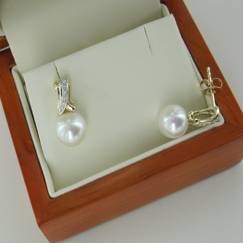 Large Pearl & Diamond Earrings 8-8.5mm on 9K White & Yellow Gold