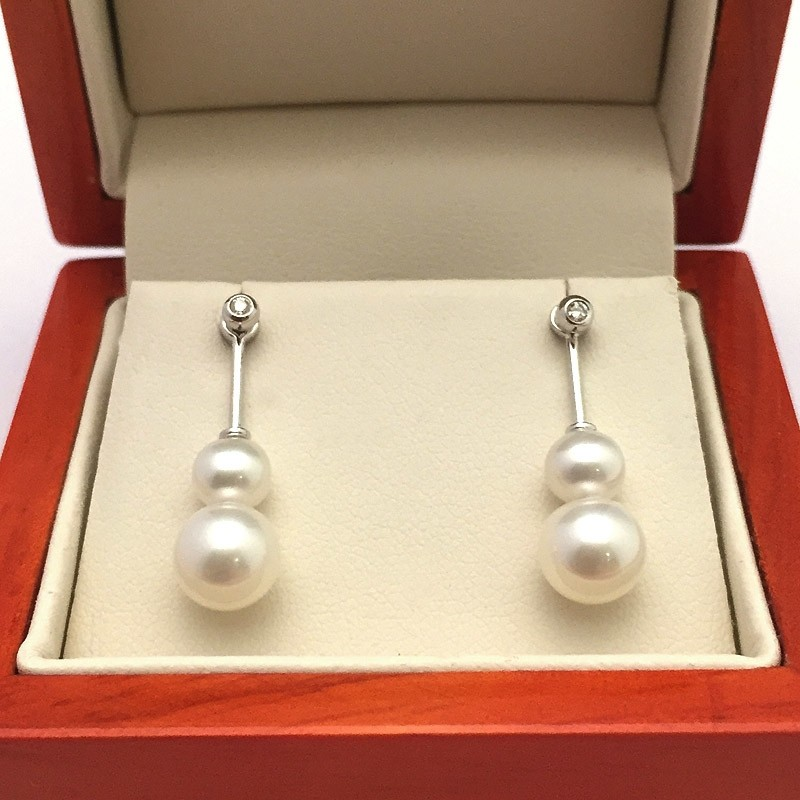 Pearl and Diamond 'Swinging' Earrings 5-7.5mm On 9K White Gold