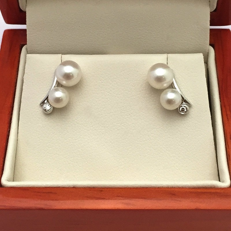 White Double Pearl and Diamond Earrings 4.5-6mm On 9K White Gold
