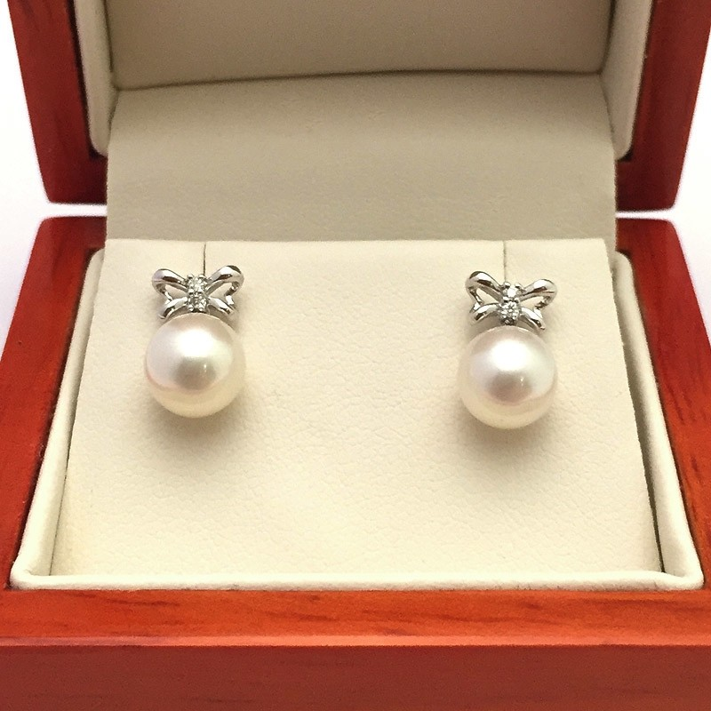 White Round Pearl & Diamond Earrings 7.5-8mm On 9K White Gold
