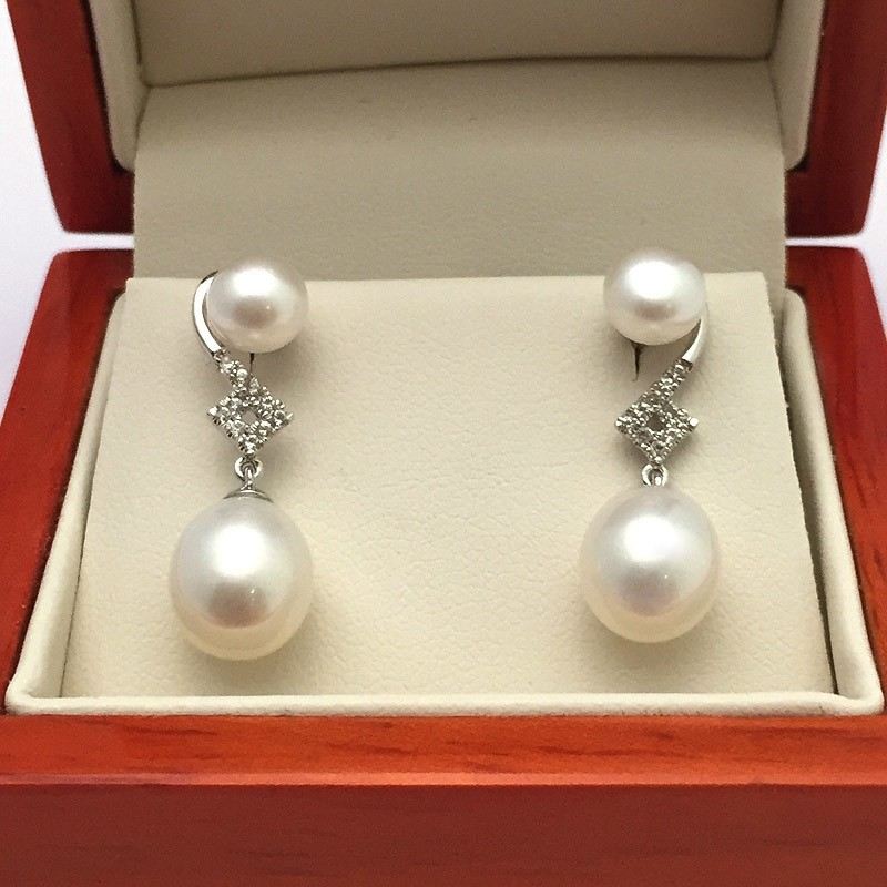 White Double Pearl & Topaz Drop Earrings 6-8.5mm On Sterling Silver