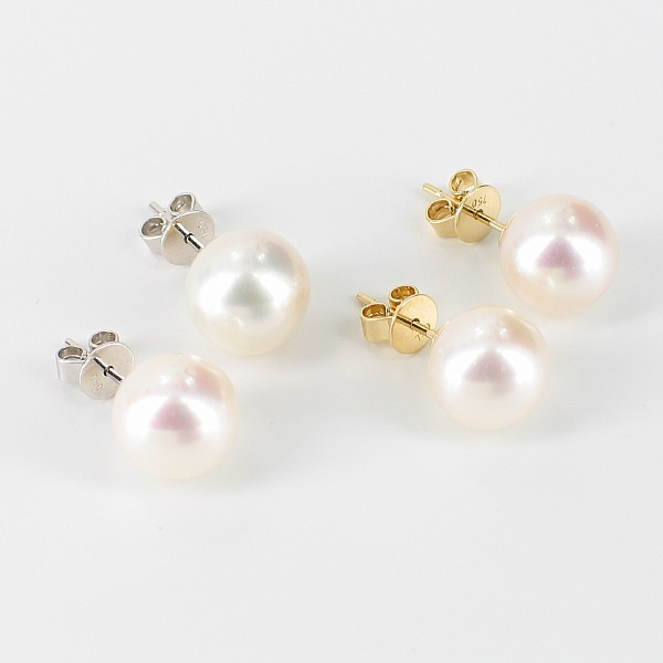 Large AAA 9.5-10mm Pearl Stud Earrings On 18K White Or Yellow Gold