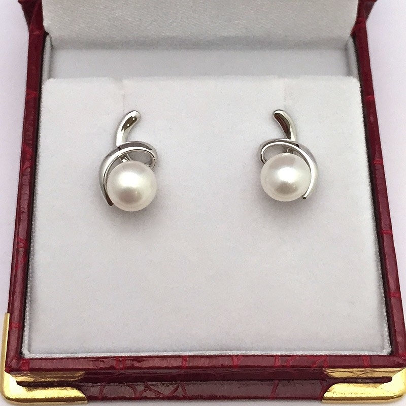 White Pearl Bouton Earrings 7.5-8mm on Sterling Silver