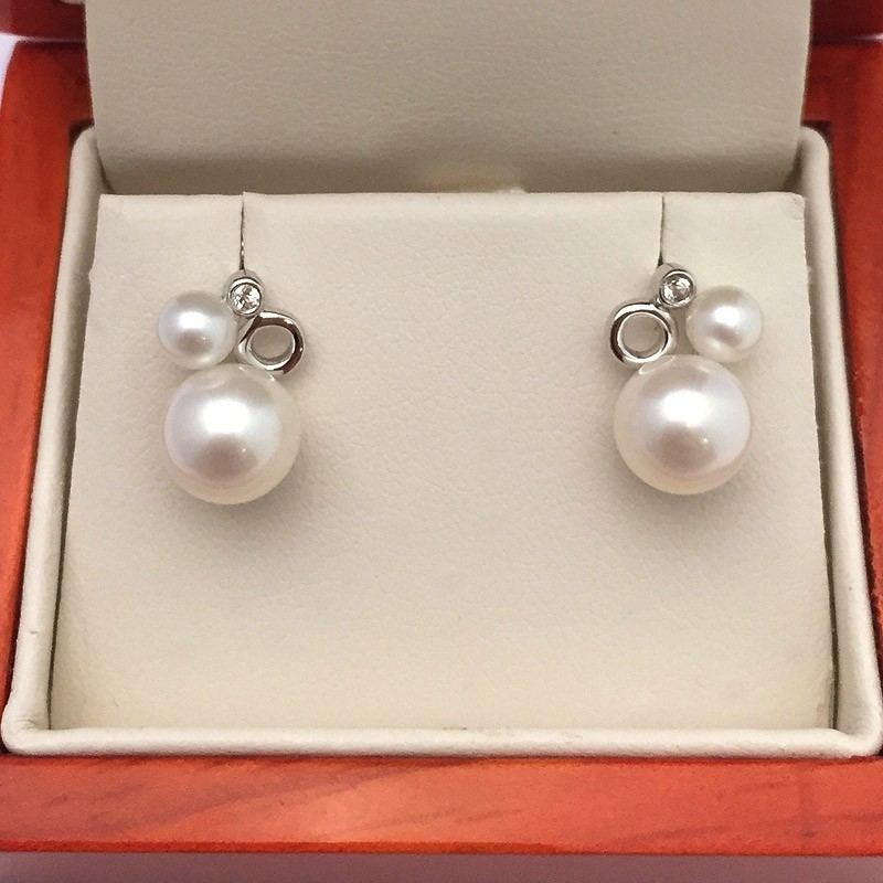 White Double Pearl & Topaz Earrings 4-8mm On Sterling Silver