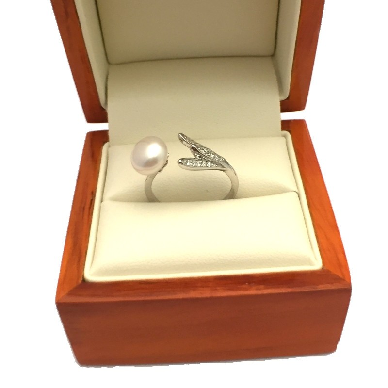 White 8-8.5MM Button Pearl & Cubic Zirconia Ring On Sterling Silver