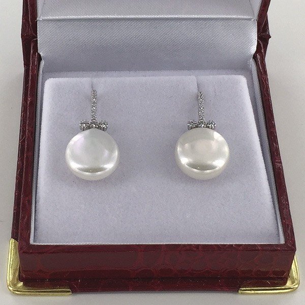 Coin Pearl Earrings 12-13mm With Cubic Zirconia On Sterling Silver