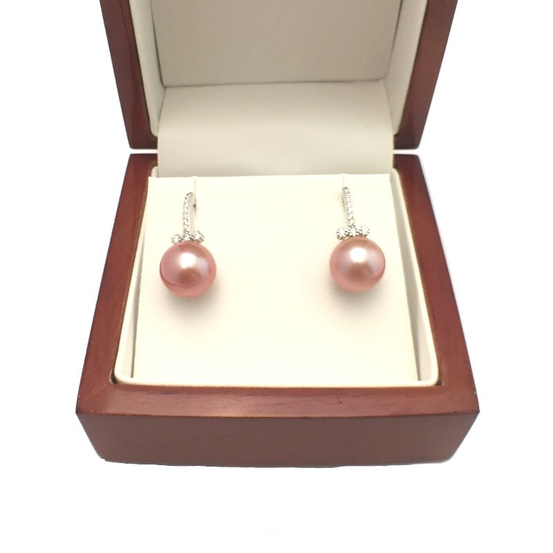 Large 11-12mm Lilac Pearl Earrings With Cubic Zirconia On Sterling Silver