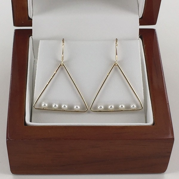 Floating Pearl Triangular Earrings 2.5-3mm On 9K Yellow Gold