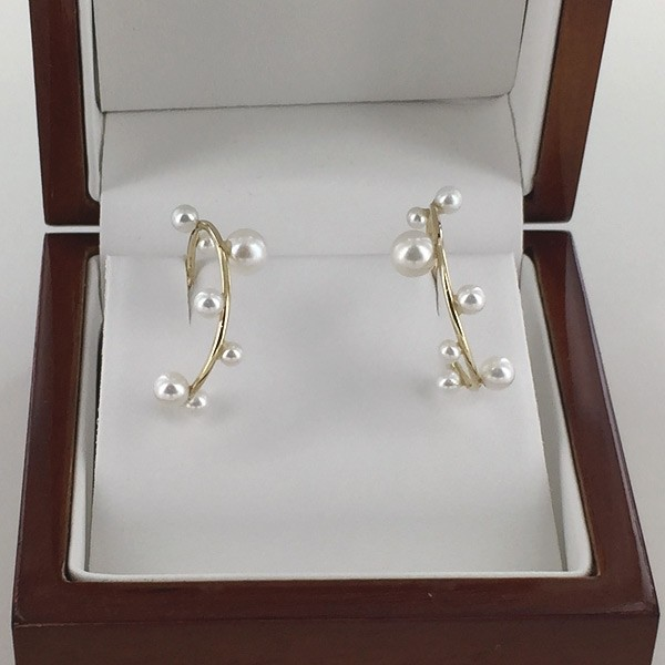 Floating Pearl Hoop Earrings 2.5-5.5mm On 9K Yellow Gold