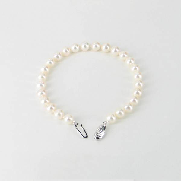White Freshwater Pearl Bracelet 6.5-7mm With 9K White Gold