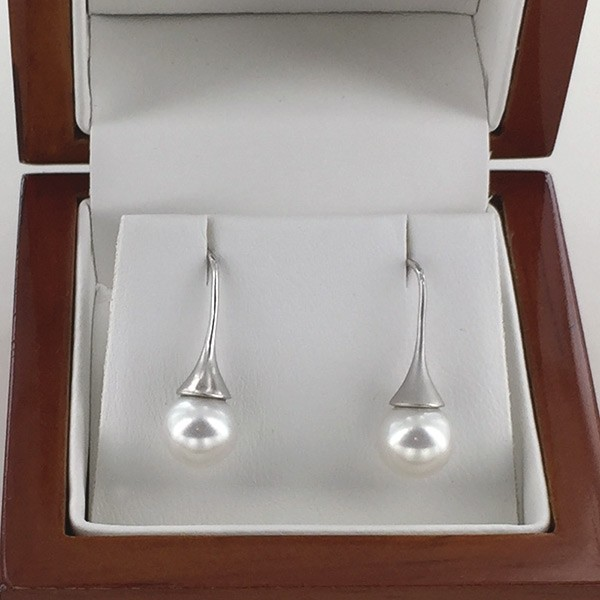 White AAA 7.5-8mm Round Pearl Earrings On 9K White Gold Hooks
