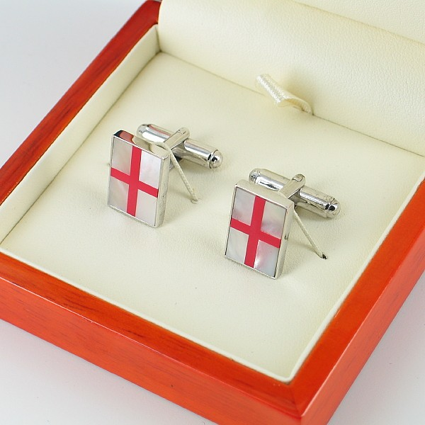Mother of Pearl Cufflinks On Sterling Silver Silver