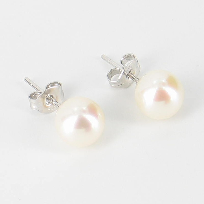 White Freshwater AAA Pearl Stud Earrings 7.5-8mm On Sterling Silver