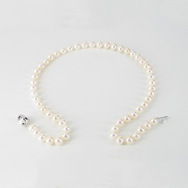 White Freshwater Pearl Necklace 7.5-8mm With Sterling Silver
