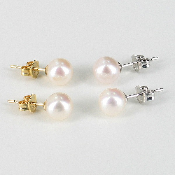 White Pearl Stud Earrings 6.5-7mm On 18K White Or Yellow Gold