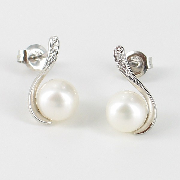 White Freshwater Pearl and Diamond Earrings 7-7.5mm On 9K White Gold