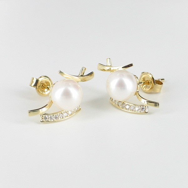 White Pearl and Diamond Earrings 7-7.5mm on 9K Yellow Gold
