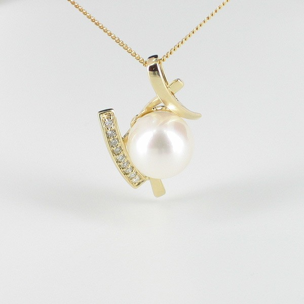 White Pearl and Diamond Pendant Necklace 8-8.5mm on 9K Yellow Gold