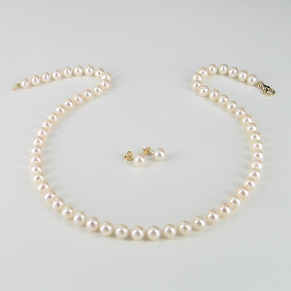 Classic Pearl Necklace & Pearl Earrings Gift Set With 14K Yellow Gold