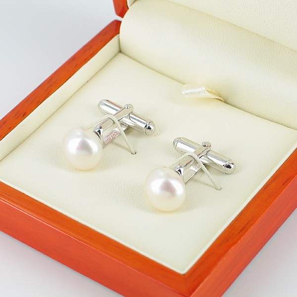 White 11-12mm Button Pearl Cufflinks On Sterling Silver