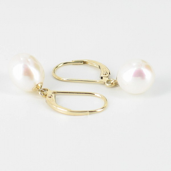 Cream Freshwater Pearl Leverback Earrings 8-8.5mm On 9K Yellow Gold