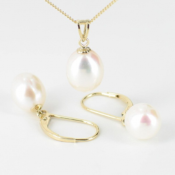 Cream Pearl Pendant & Earrings Set Drop On 9K Yellow Gold