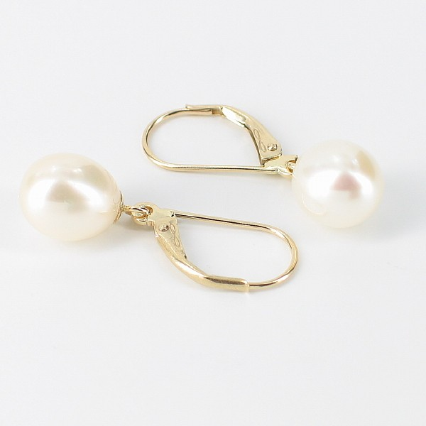 White Freshwater 8-8.5mm Pearl Leverback Drop Earrings On 14K Yellow Gold