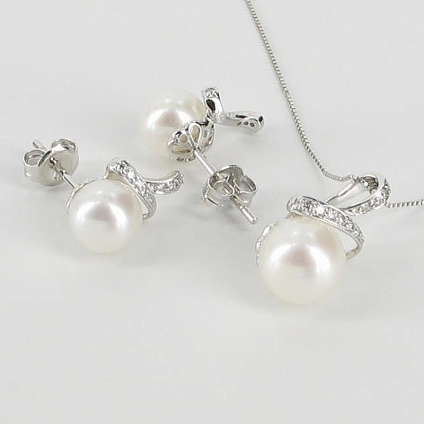 White Pearl & Diamond Pendant Necklace Set 7-8mm 9K White Gold