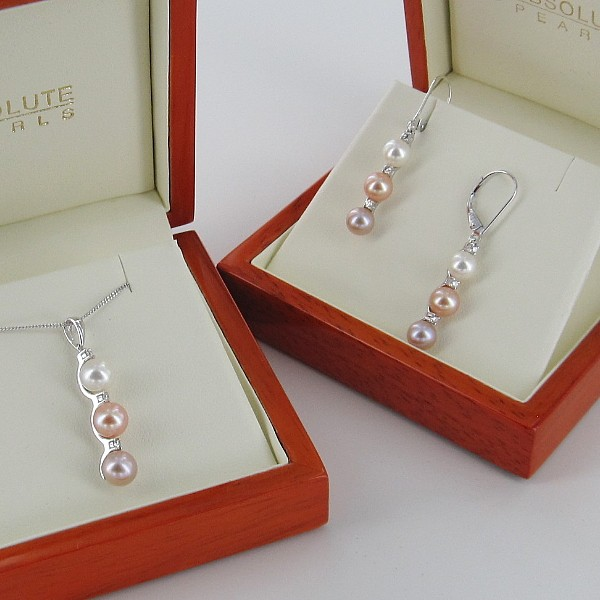 Multicolour Triple Pearl & Triple Diamond Pendant Set 5.5-6.5mm 9K White Gold