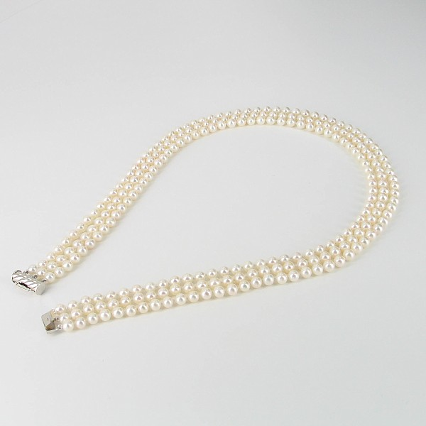 White Triple Strand Pearl Necklace 5-5.5mm With 14K White Gold