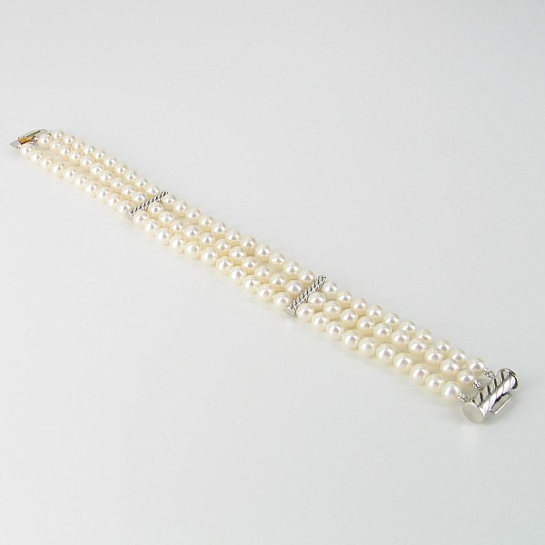 White Triple Strand Pearl Bracelet 5-5.5mm With 14K White Gold
