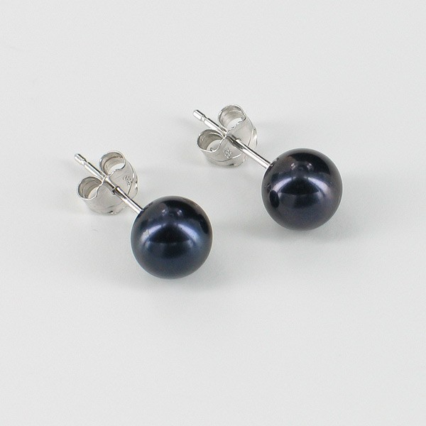 Black Pearl Stud Earring  AAA 6.5-7mm On 14K White Gold