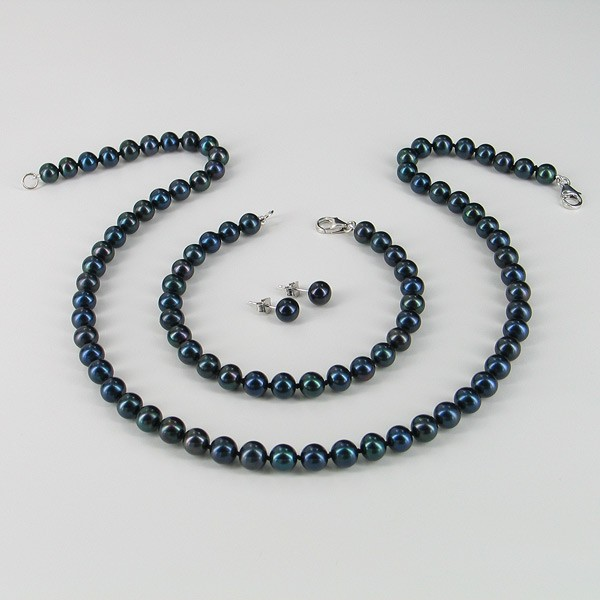 Black Freshwater Pearl Necklace Set 6.5-7mm With 14K White Gold