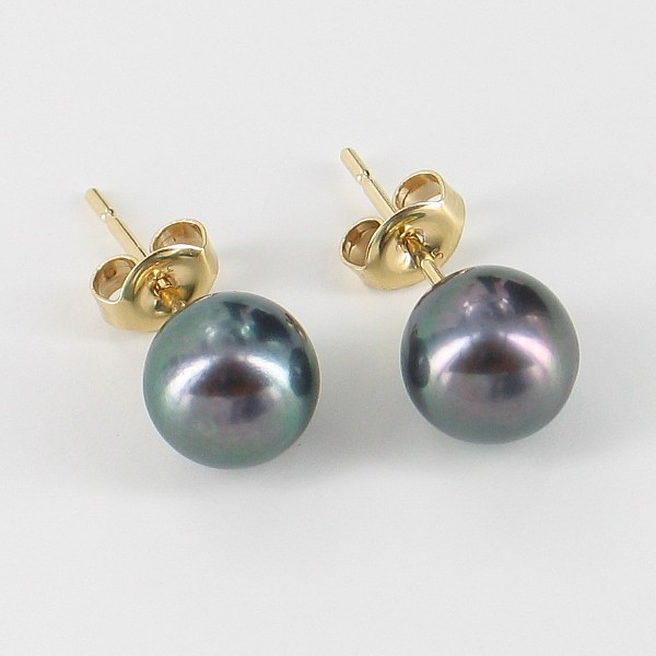 Freshwater Black Pearl Stud Earrings 7-7.5mm On 9K Yellow Gold