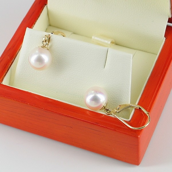 White AAA Pearl Earrings 8.5-9mm on 18K Yellow Gold Leverbacks