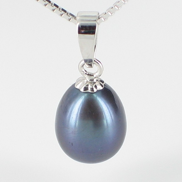 Black Freshwater Pearl Drop Pendant Necklace 8-8.5mm On Sterling Silver
